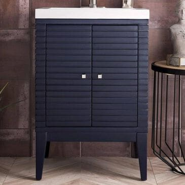 """James Martin Linden 24"""" Single Vanity Cabinet in Navy Blue with White Glossy Resin Countertop, , large"""