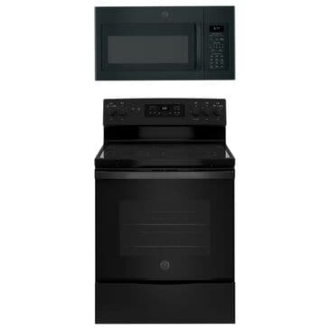 """GE Appliances 2-Piece Kitchen Package with 30"""""""" Electric Range and Sensor Microwave Oven in Black, , large"""