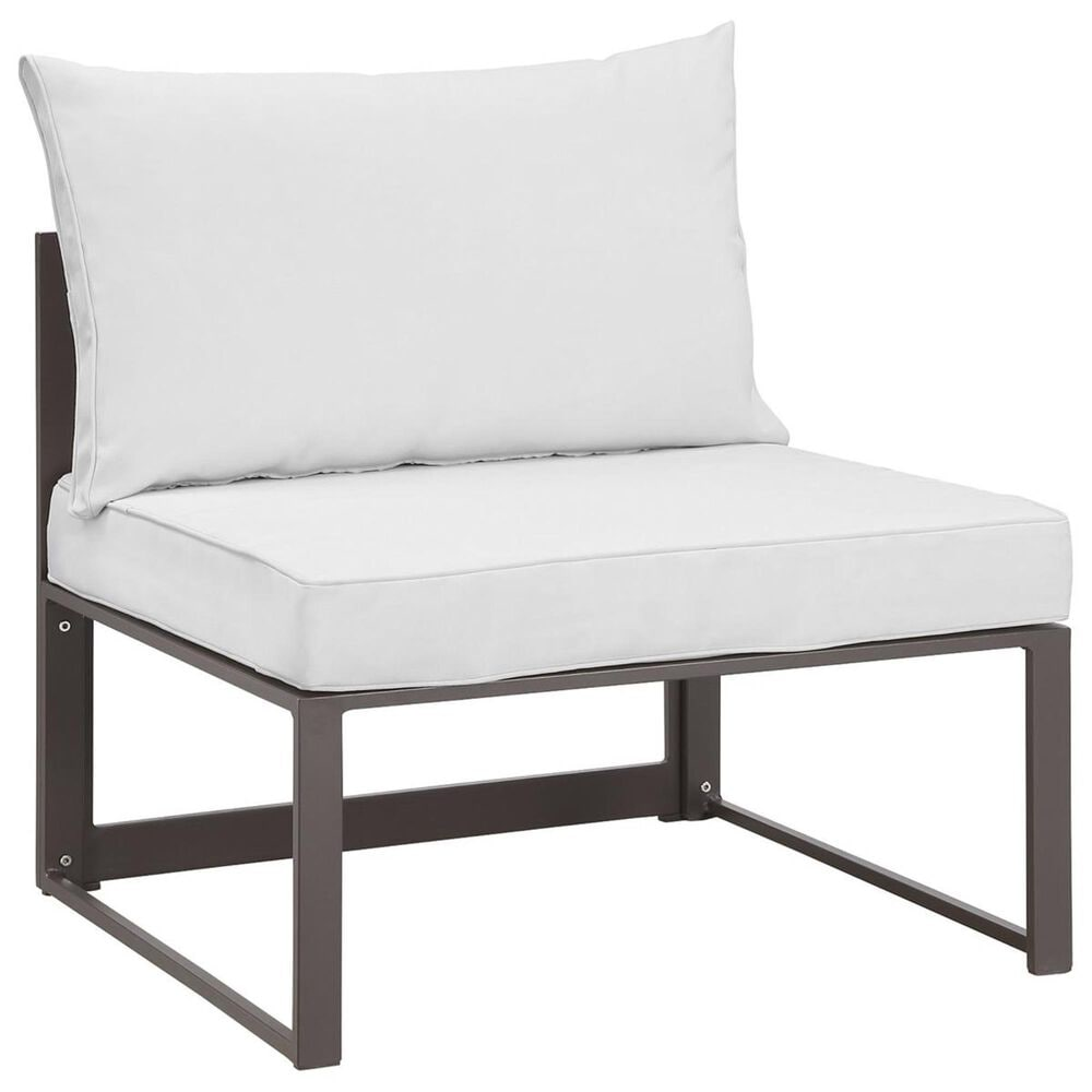 Modway Fortuna 6-Piece Outdoor Modular Sectional Set in Brown and White, , large