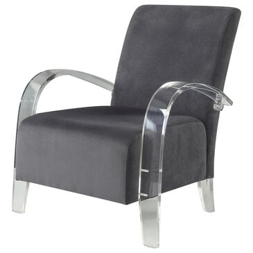 Gunnison Co. Malyssa Accent Chair in Charcoal & Clear Acrylic, , large