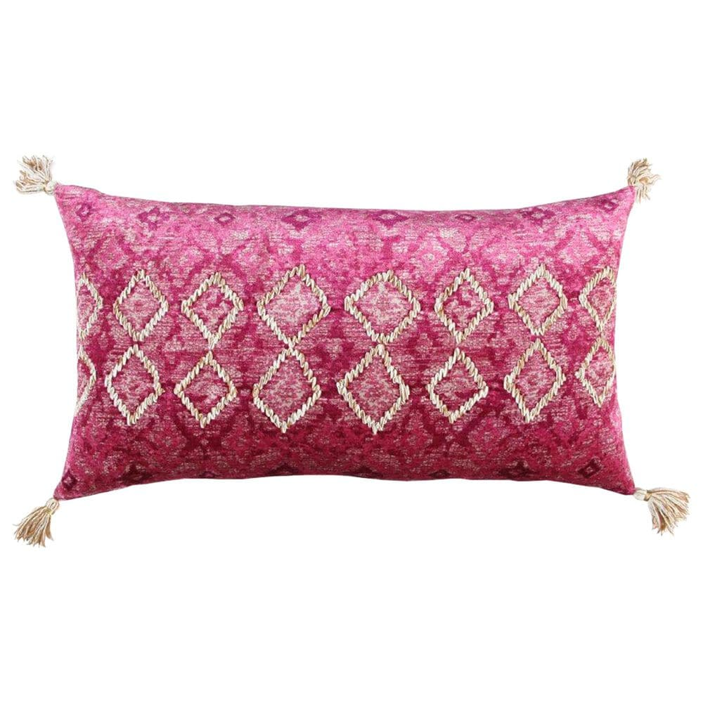 """Rizzy Home Geometric 14"""" x 26"""" Pillow in Velvet Pink, , large"""
