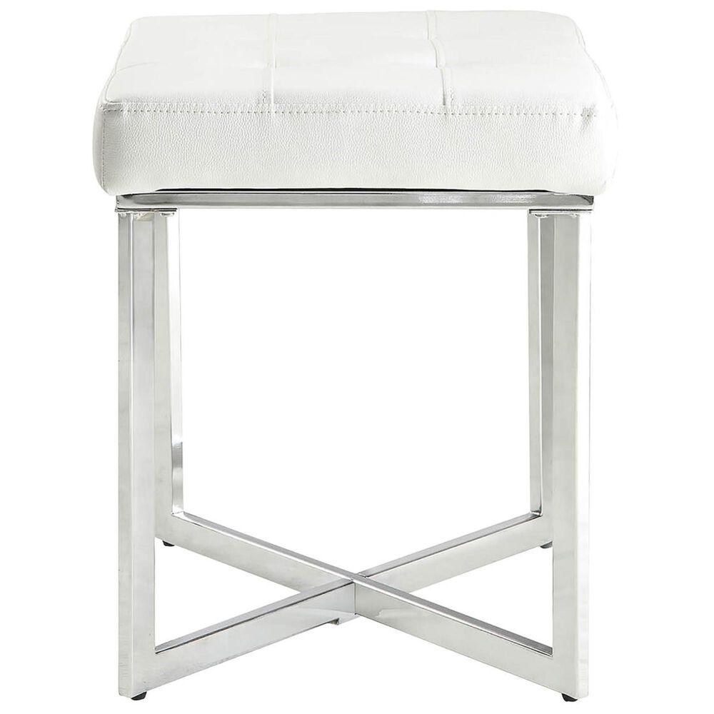 Carolina Cottage Lizzie Vanity Bench in White/Chrome, , large