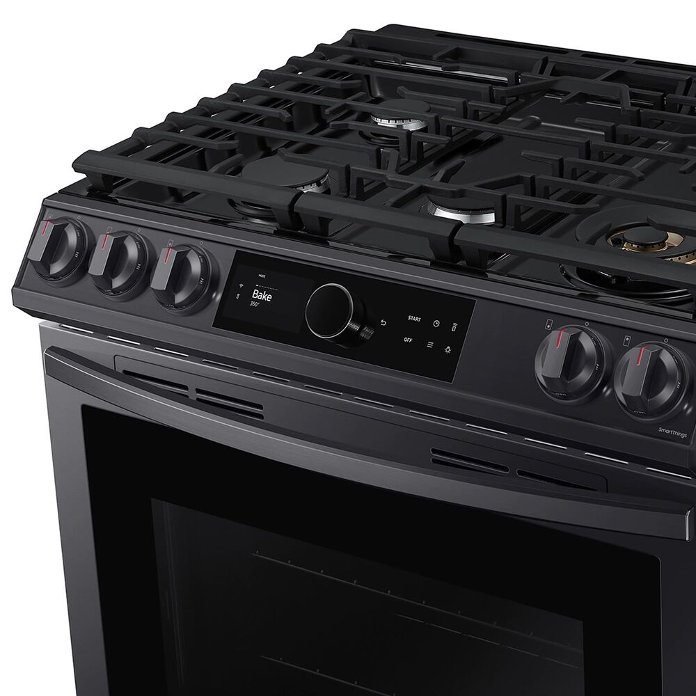 Samsung 6.0 Cu. Ft. Front Control Slide-in Gas Range with Smart Dial, Air Fry and Wi-Fi in Black Stainless Steel, , large