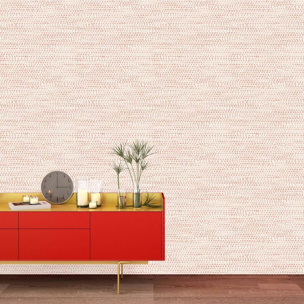 Tempaper Moire Dots Coral Peel and Stick Wallpaper, , large