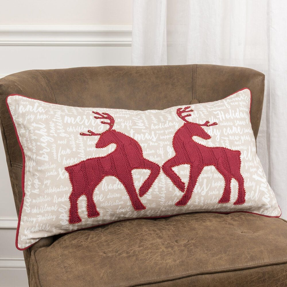 """Rizzy Home Christmas 14"""" x 26"""" Pillow in Multi, , large"""