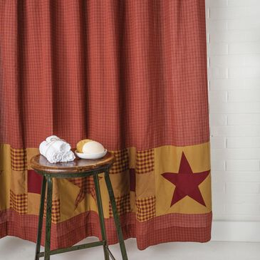 """VHC Ninepatch Star 72"""" x 72"""" Shower Curtain in Burgundy and Khaki, , large"""