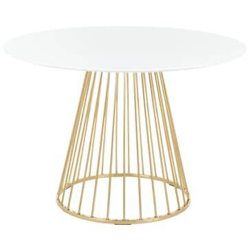 Lumisource Canary Dining Table in White/Gold, , large