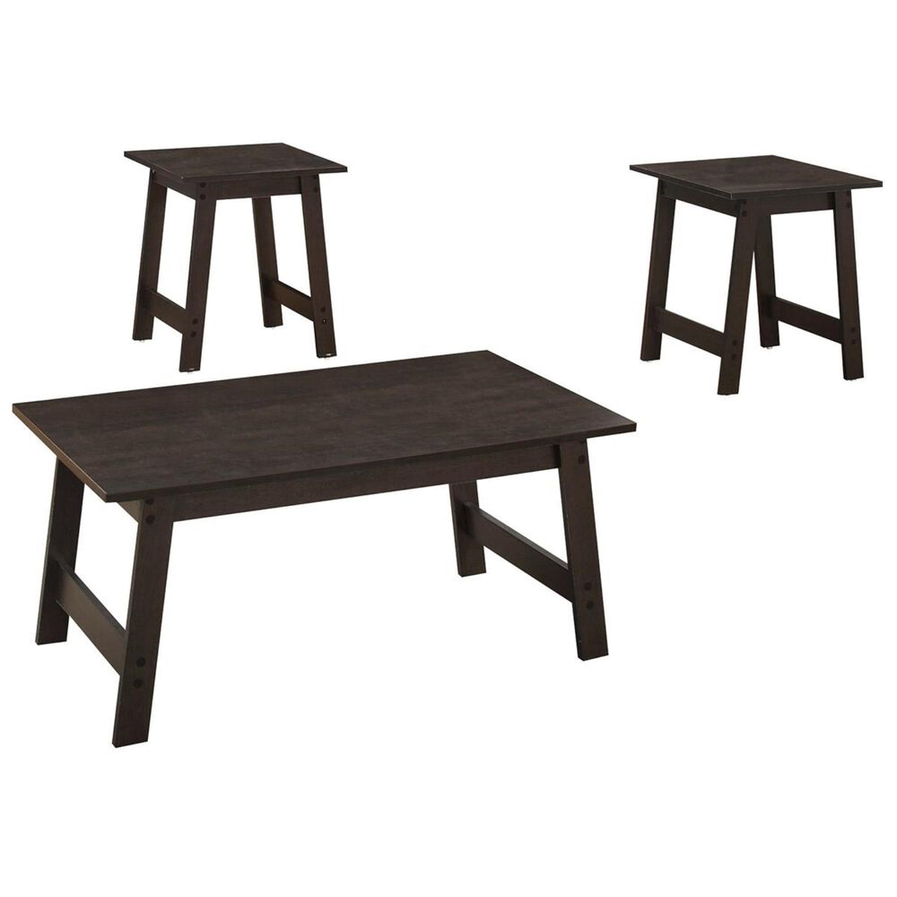 Monarch Specialties 3-Piece Table Set in Cappuccino, , large