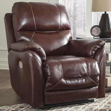 Signature Design by Ashley Dellington Power Recliner with Adjustable Headrest in Walnut, , large