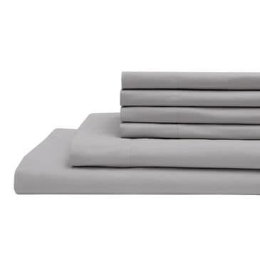Elite Home Products 6-Piece Queen Sheet Set in Silver, , large