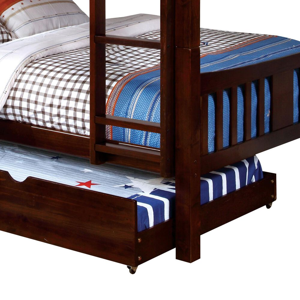Furniture of America Patton 2 Piece Twin Bunk Bed with Trundle in Dark Walnut, , large