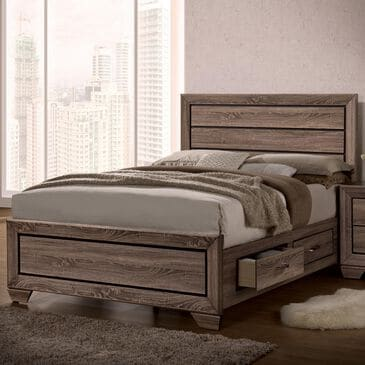 Pacific Landing Kauffman Queen Storage Bed in Washed Taupe, , large