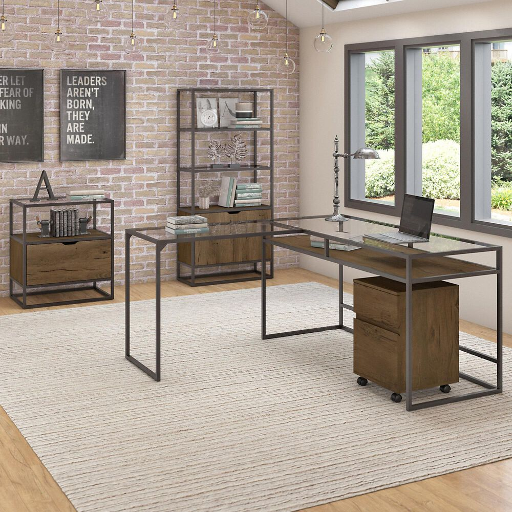 Bush Anthropology 3 Piece Office Desk Set in Rustic Brown, , large