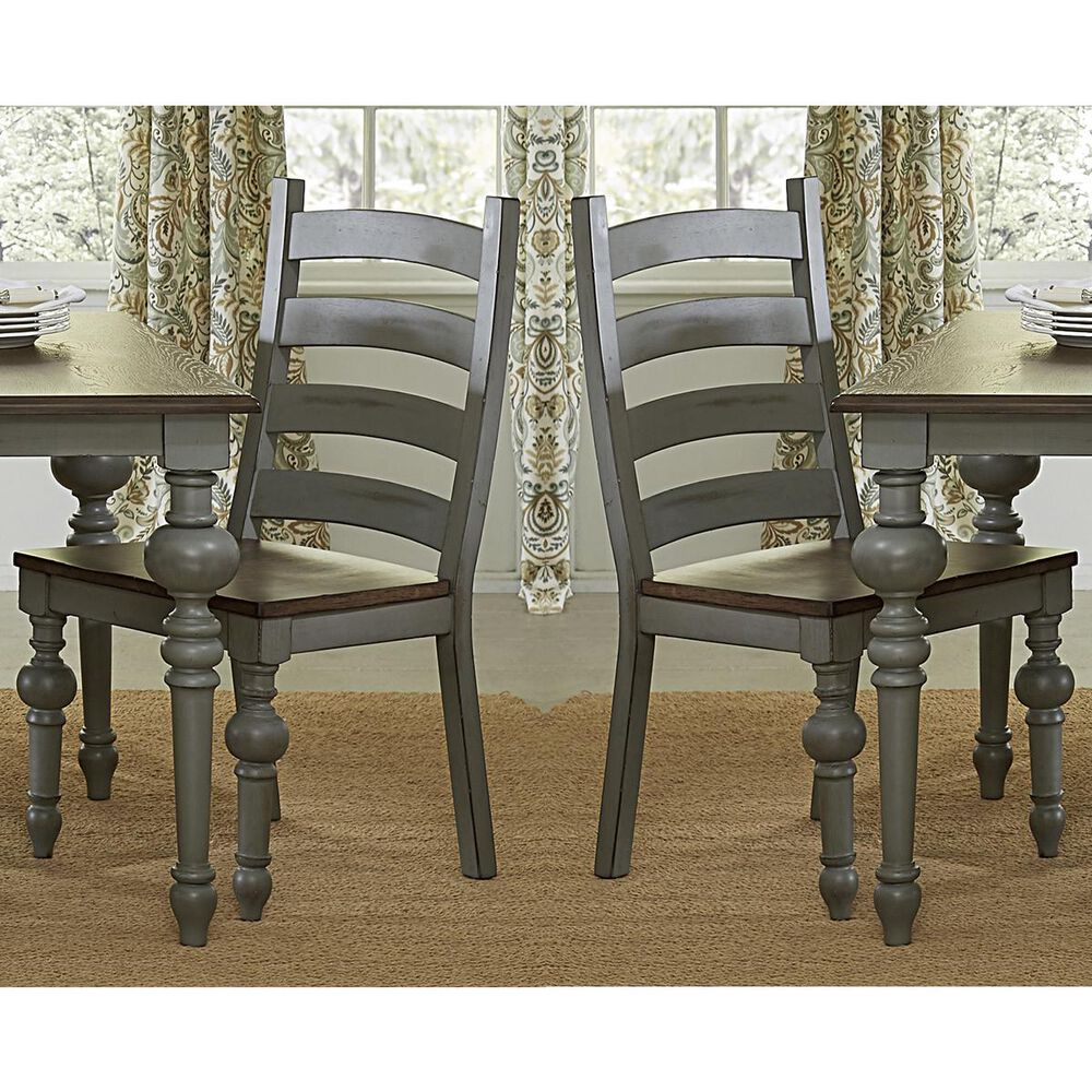 Tiddal Home Colonnades Ladder Dining Chair in Putty and Oak (Set of 2), , large