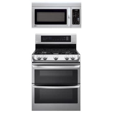 LG 2-Piece Kitchen Package with 6.9 Cu. Ft. Gas Double Oven Range and 1.8 Cu. Ft. Microwave Oven in Stainless Steel, , large