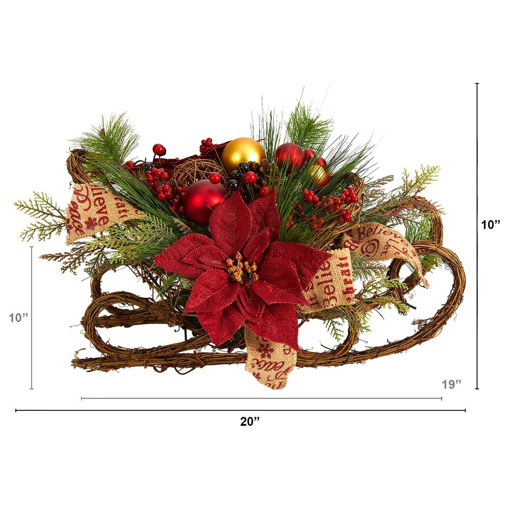 Nearly Natural Inc 18in. Christmas Sleigh with Poinsettia, Berries and Pinecone Artificial Arrangement with Ornaments, , large