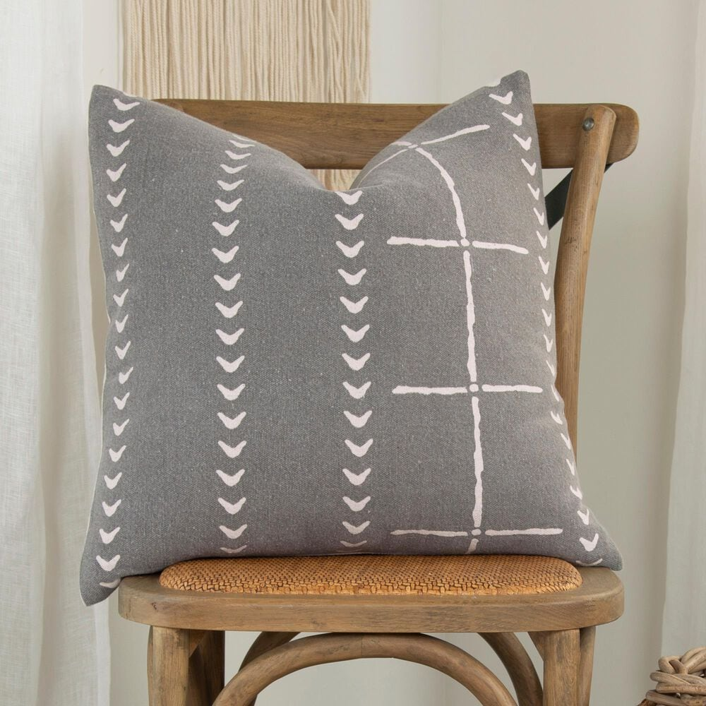 """Rizzy Home Donny Osmond 20"""" Pillow Cover in Charcoal, , large"""