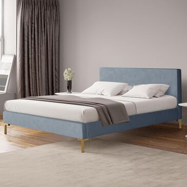 Skyline Furniture King Platform Bed in Velvet Ocean, , large