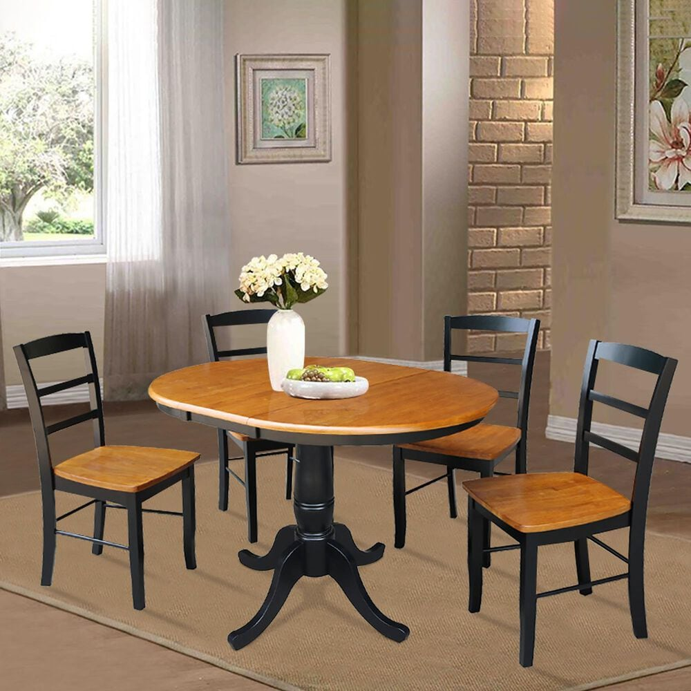 International Concepts Madrid 5-Piece Dining Set in Black/Cherry, , large