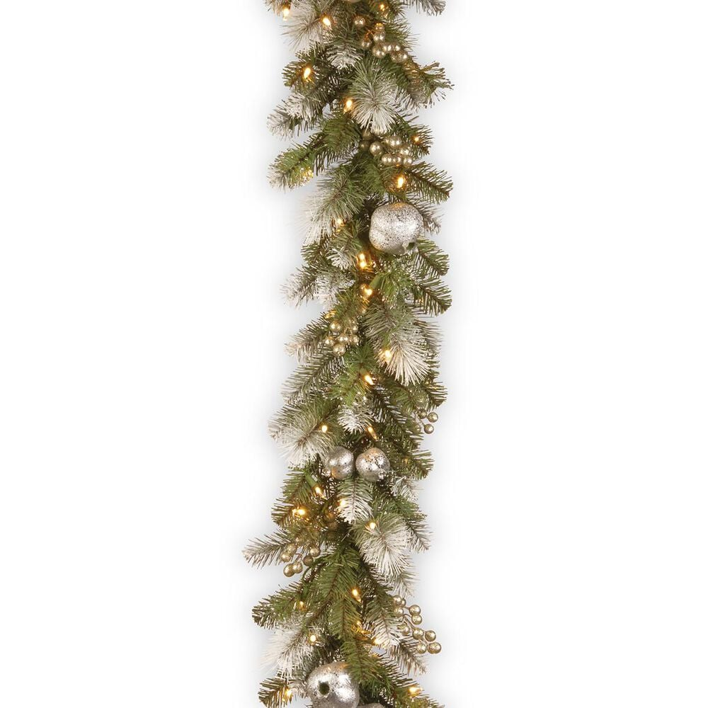 """National Tree 9"""" Glittery Pomegranate Pine Garland with White Lights, , large"""