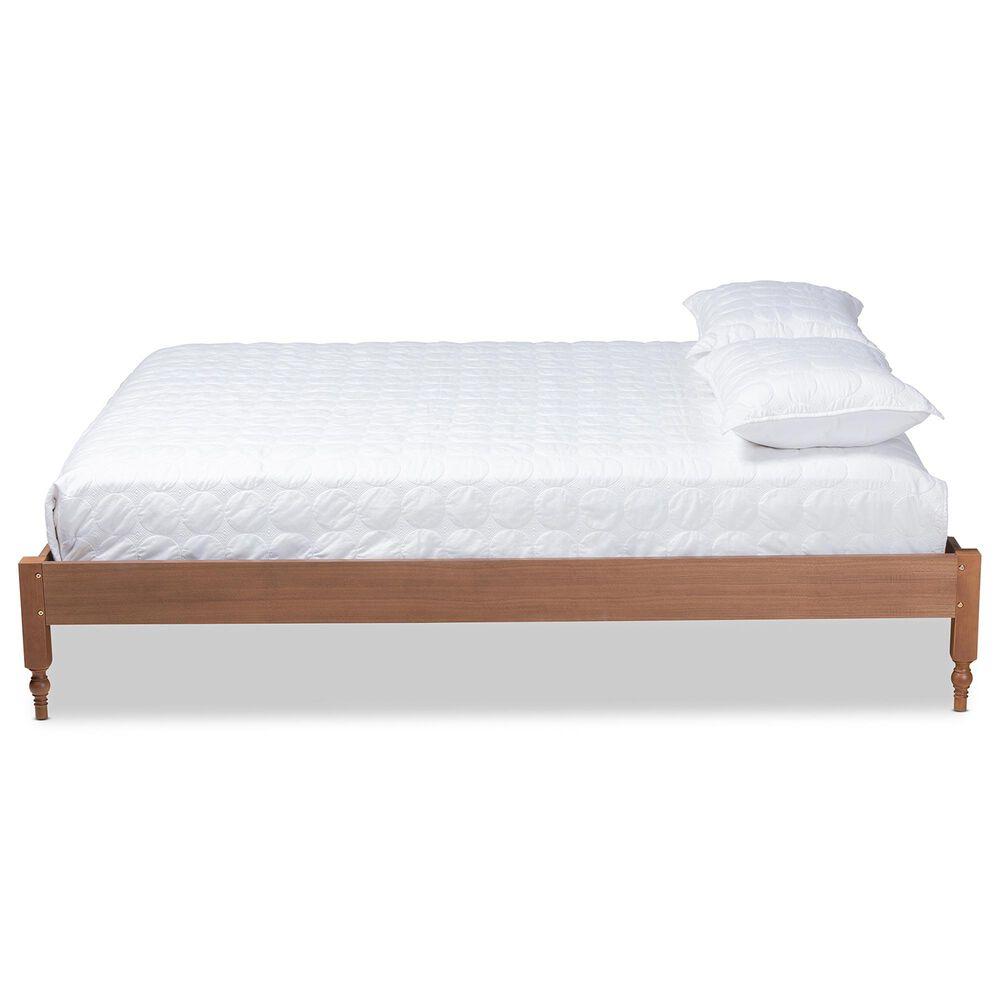 Baxton Studio Laure Full Platform Bed in Ash Walnut, , large