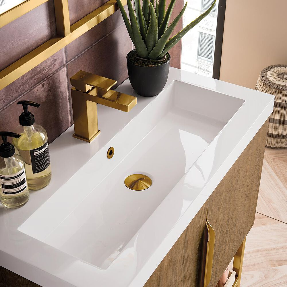 """James Martin Columbia 31.5"""" Single Vanity Cabinet in Latte Oak, Radiant Gold, with White Glossy Solid Surface Top, , large"""