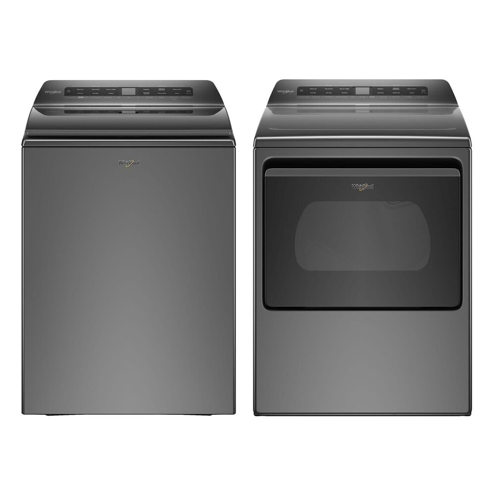 Whirlpool 4.8 Cu. Ft. Top Load Washer and 7.4 Cu. Ft. Electric Dryer Laundry Pair in Chrome Shadow, , large