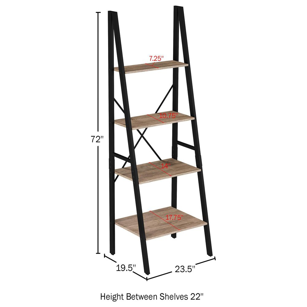 Timberlake Hastings Home 4-Tier Bookcase in Gray and Black , , large