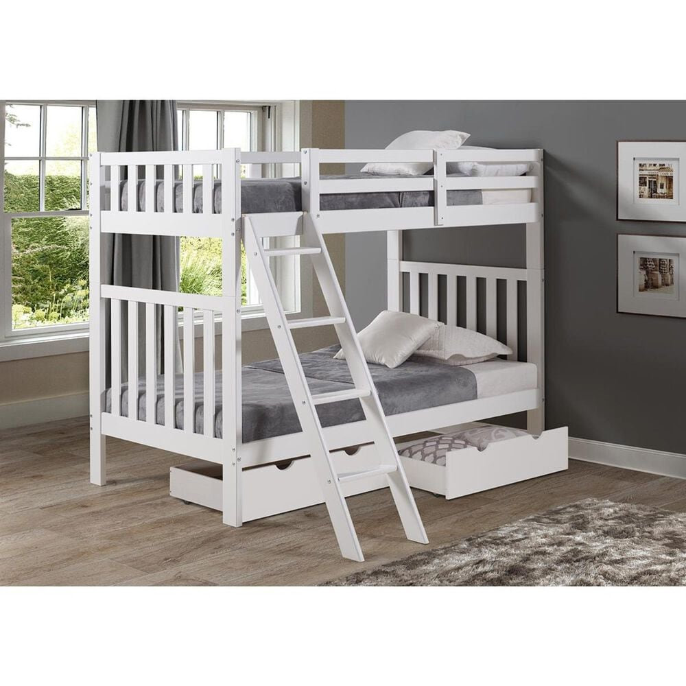 Bolton Furniture Aurora Twin Over Twin Bunk Bed in White, , large