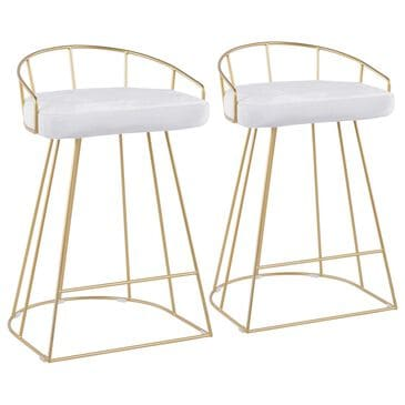 Lumisource Canary Counter Stool in White/Gold (Set of 2), , large