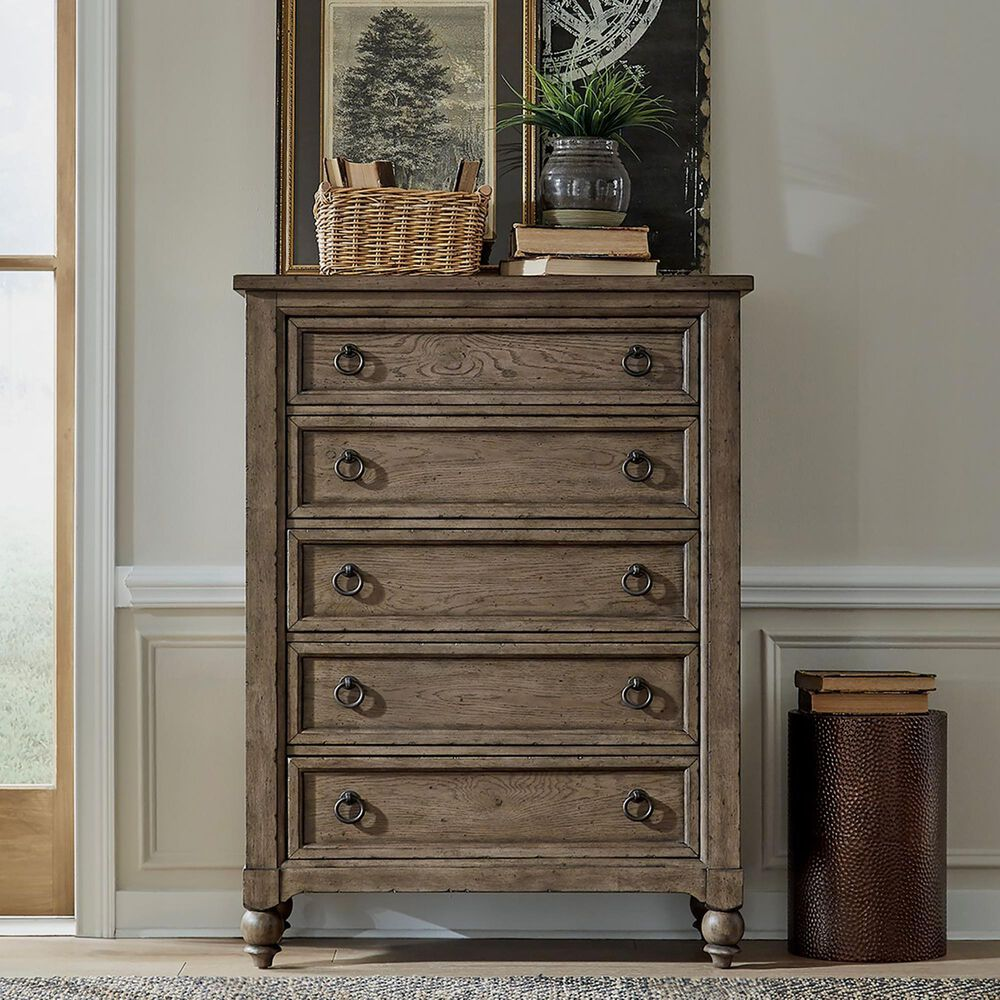 Belle Furnishings Americana Farmhouse 5 Drawer Chest in Dusty Taupe and Black, , large