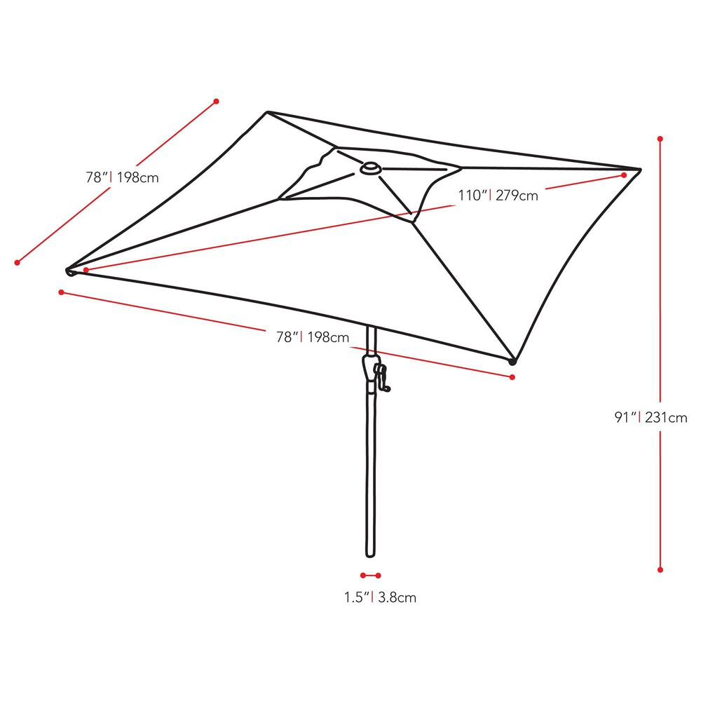 CorLiving 9' Square Tilting Patio Umbrella in Forest Green, , large