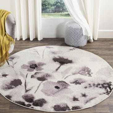 Safavieh Adirondack ADR127L 4' Round Ivory and Purple Area Rug, , large