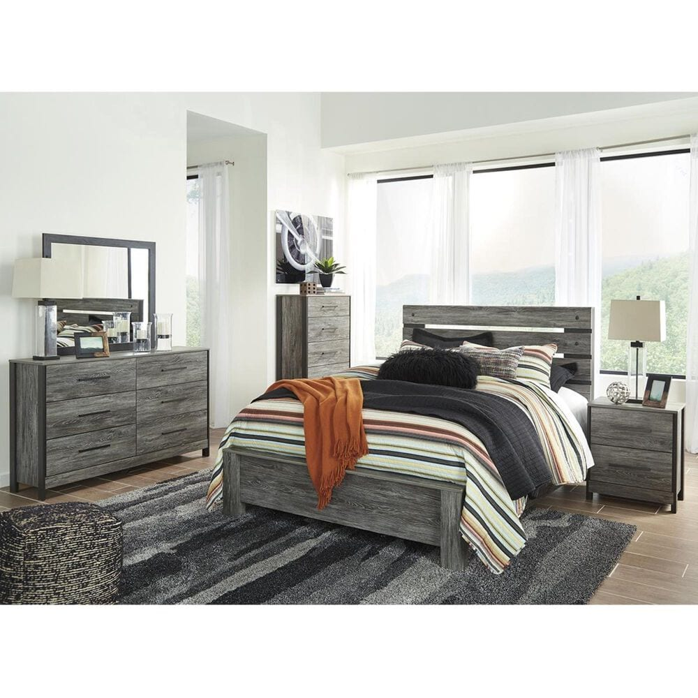 Signature Design by Ashley Cazenfeld Queen Panel Headboard in Rustic Warm Gray, , large
