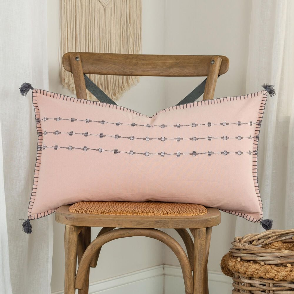 """Rizzy Home Donny Osmond 14"""" x 26"""" Pillow Cover in Blush, , large"""