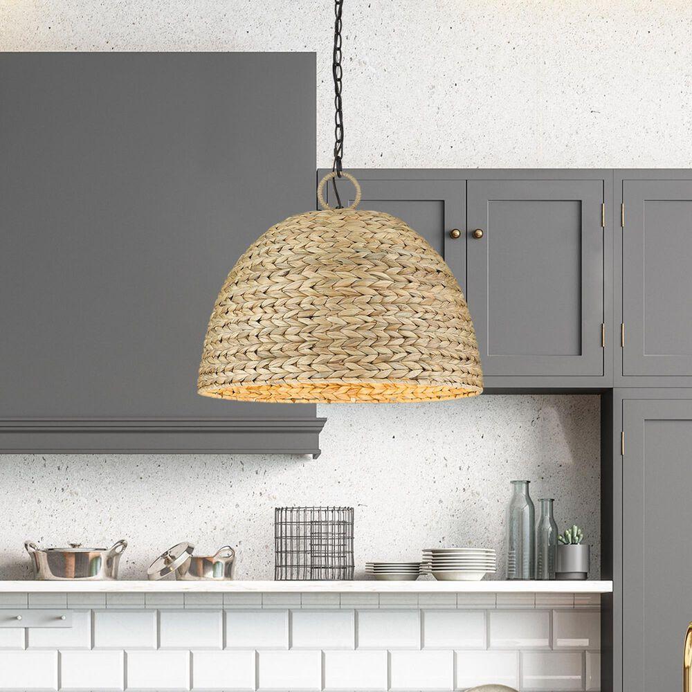 Golden Lighting Rue 5-Light Pendant in Matte Black with Woven Sweet Grass Shade, , large