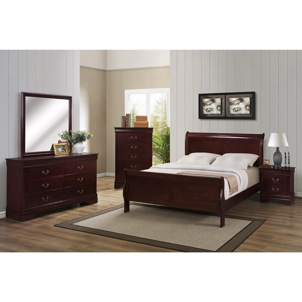 at HOME Louis Philip Queen Sleigh Bed in Cherry, , large