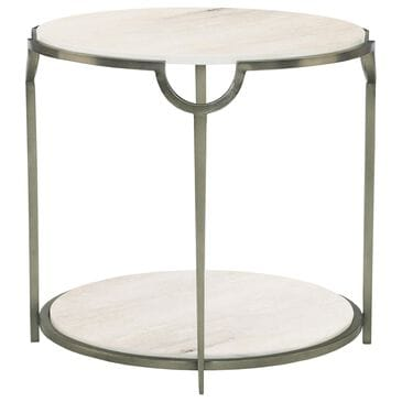 Bernhardt Morello Round End Table in White Faux Marble and Oxidized Nickel, , large