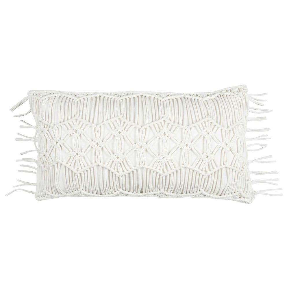 """Rizzy Home Donny Osmond 14"""" x 26"""" Pillow Cover in White with Fringe, , large"""