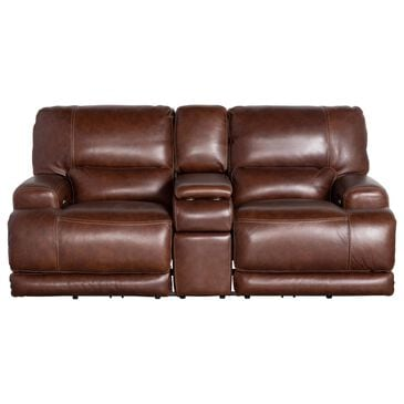 Sienna Designs Leather Power Reclining Console Loveseat with Power Headrest in Longhorn Bramble , , large