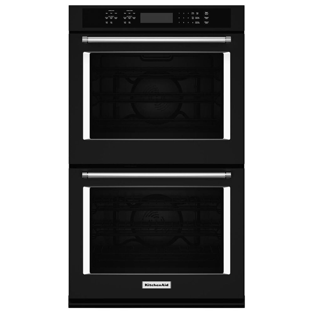 """KitchenAid 27"""" Double Wall Oven with Even-Heat True Convection in Black, , large"""