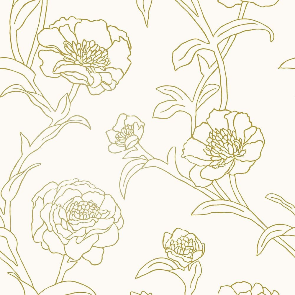 Tempaper 28 sq. ft. Peonies Gold Leaf Peel and Stick Wallpaper, , large