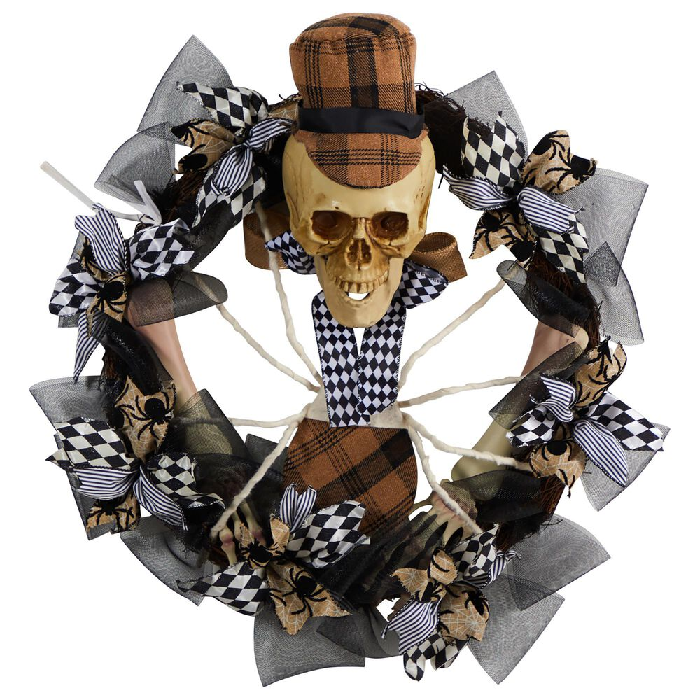 Nearly Natural Inc 24in. Halloween Skull in Plaid Mesh Wreath, , large