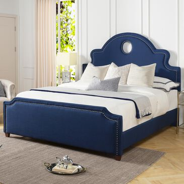 Jennifer Taylor Home Flora King Panel Bed in Midnight Blue, , large