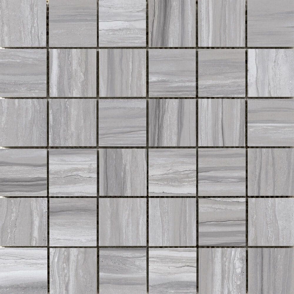 "Emser Ciudad Gray 2"" x 2"" Square on 12"" x 12"" Ceramic Mosaic Sheet, , large"