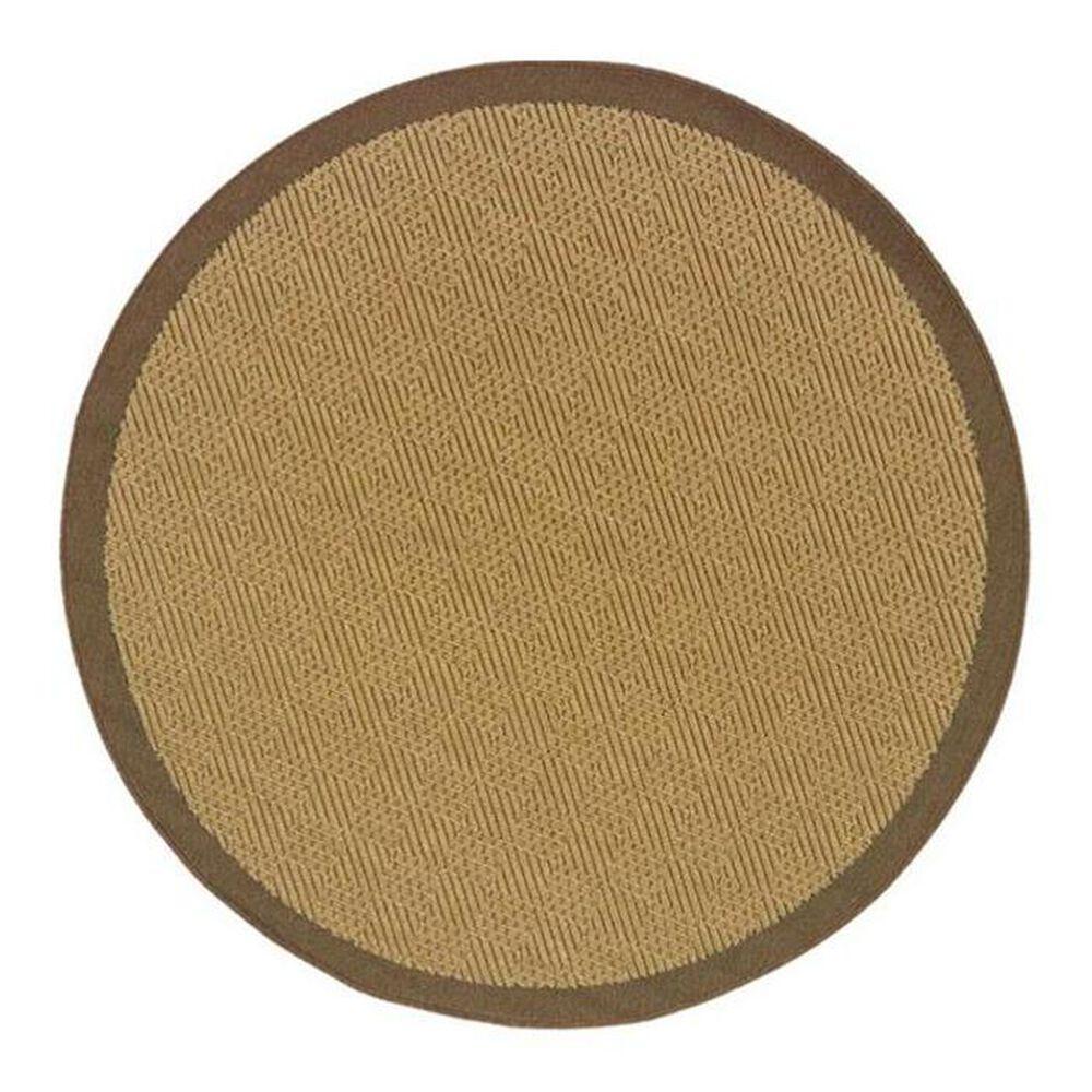"""Oriental Weavers Lanai 525D 7""""10"""" Round Tan Area Rug, , large"""
