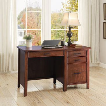 Pacific Landing Writing Desk with File Drawer and Outlet in Red Brown, , large