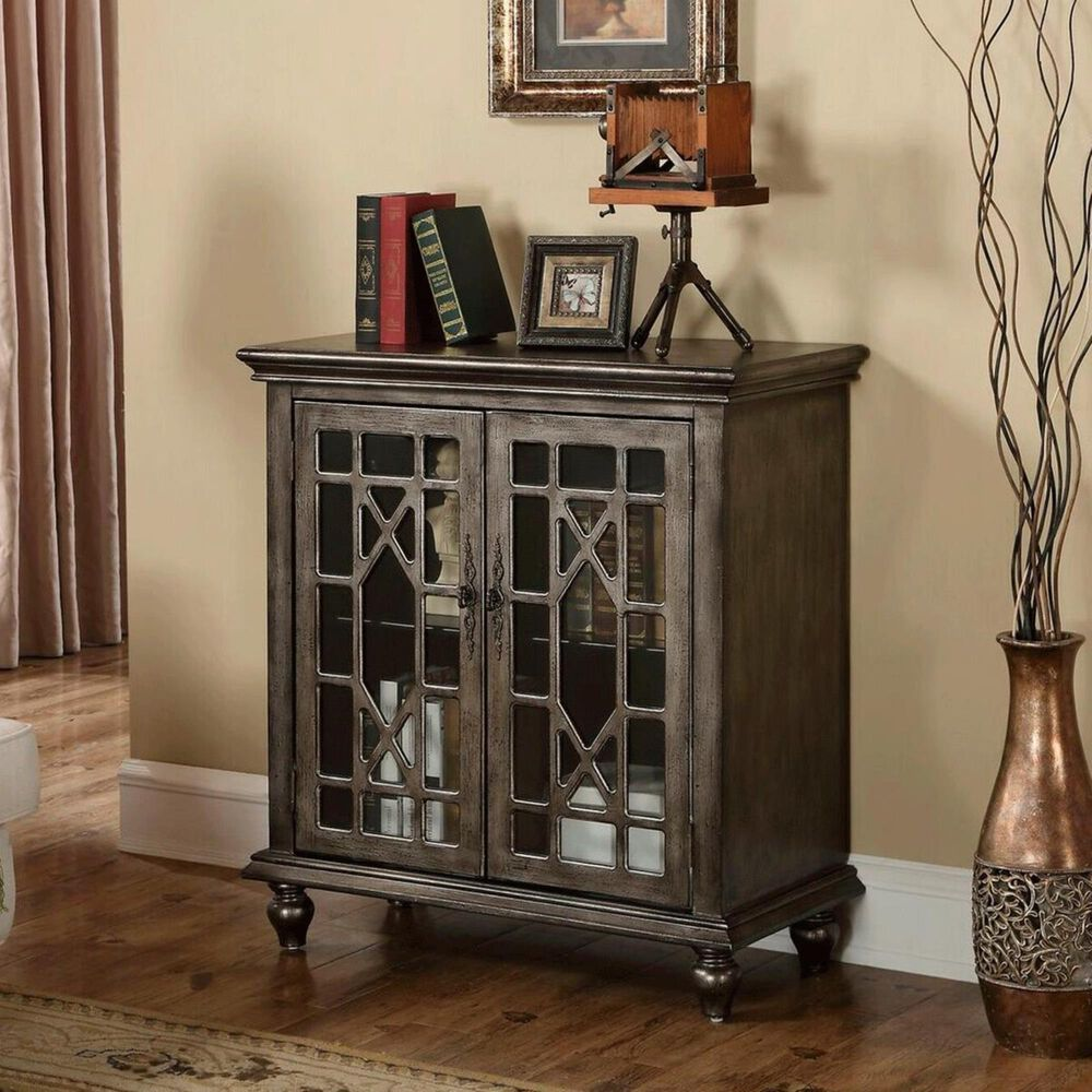 Shell Island Furniture 2 Door Cabinet Distressed in Silver Finish, , large