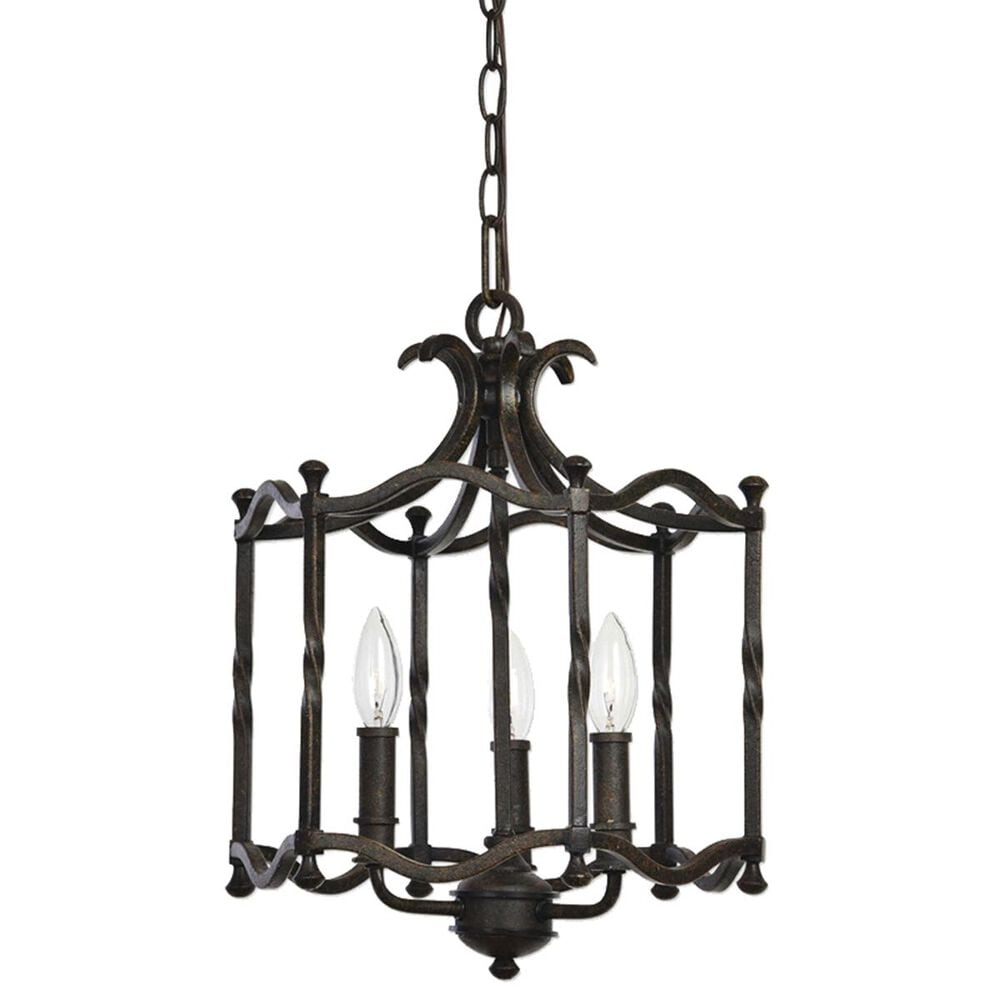 Uttermost Candela 3 Light Pendant in Distressed Rust Iron, , large
