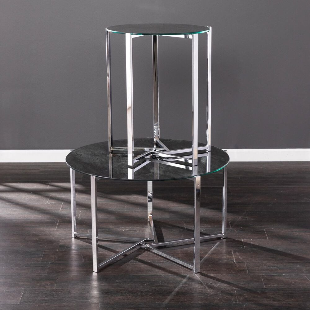 Southern Enterprises Dransill End Table in Chrome and Black, , large